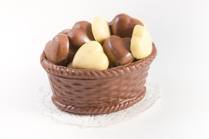 Chocolate basket with chocolate truffles stock photography