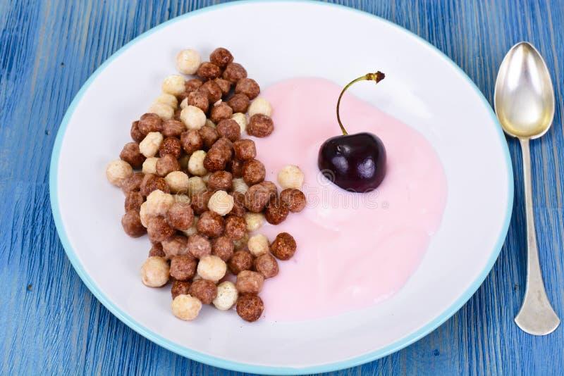 Chocolate Beakfast de la proteína con Chia Seeds y los cacahuetes imagen de archivo