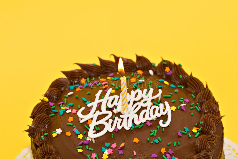 Chocolate Birthday. A chocolate birthday cake with candle and words royalty free stock photos