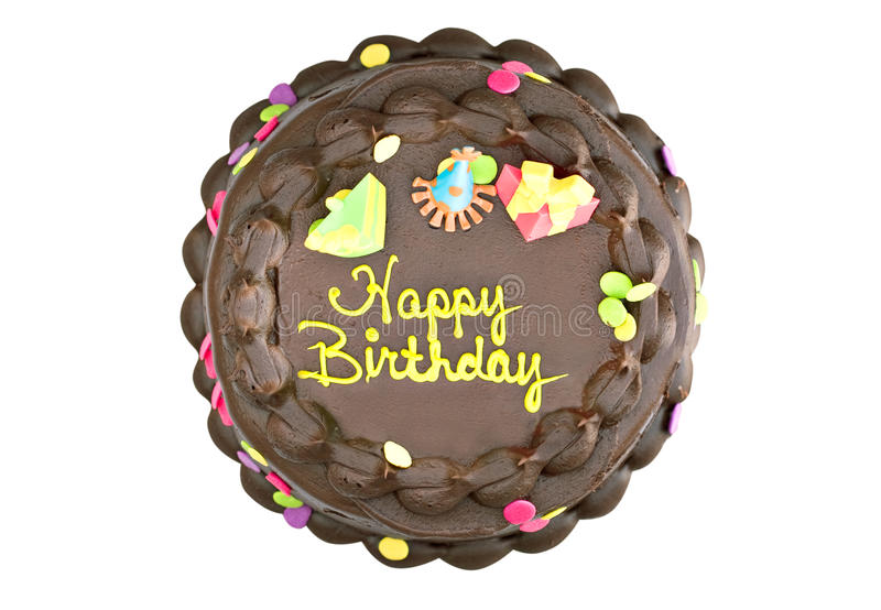 Chocolate Birthday Cake. With decorations isolated on white. Clipping path included stock photos