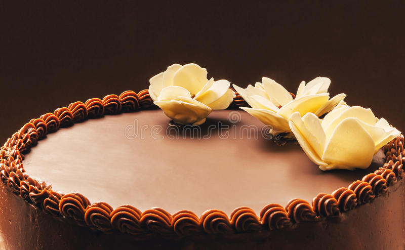 Chocolate Birthday Cake. All chocolate birthday cake, on brown background, decorated with yellow flowers on top stock image
