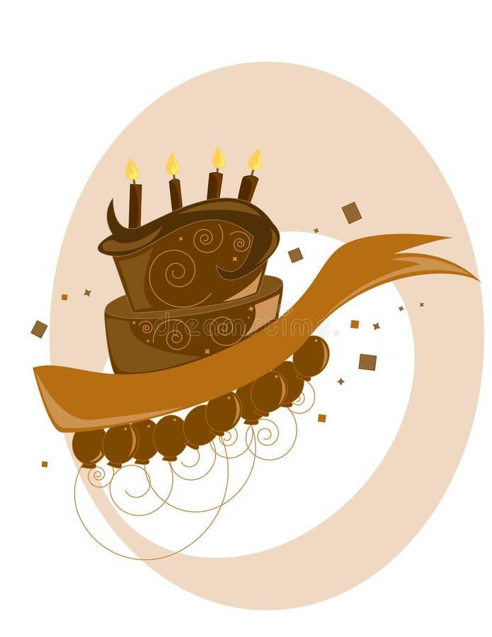 Chocolate Birthday cake vector illustration