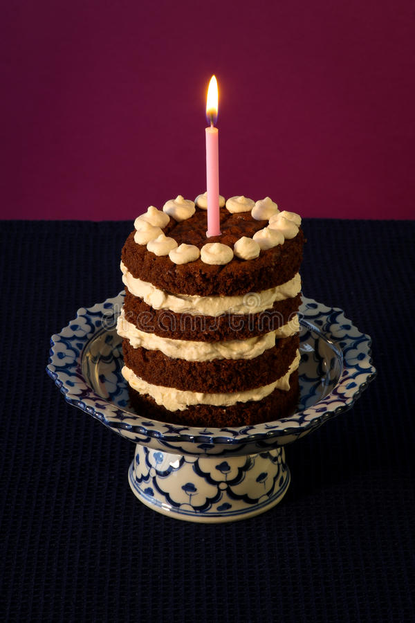 Chocolate Birthday Cake Burning Candle Stock Photo Image of cake