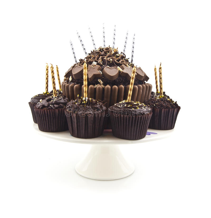 Chocolate Birthday Cake with Candles. On white background royalty free stock image