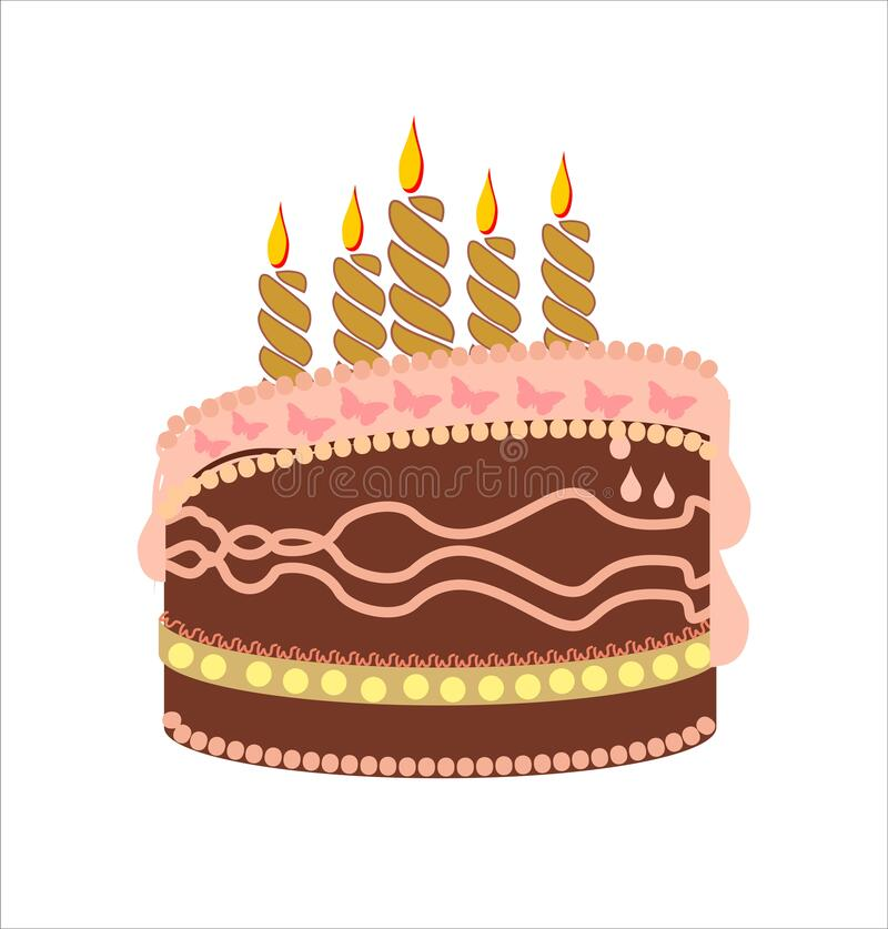 Chocolate birthday cake. With candles royalty free illustration