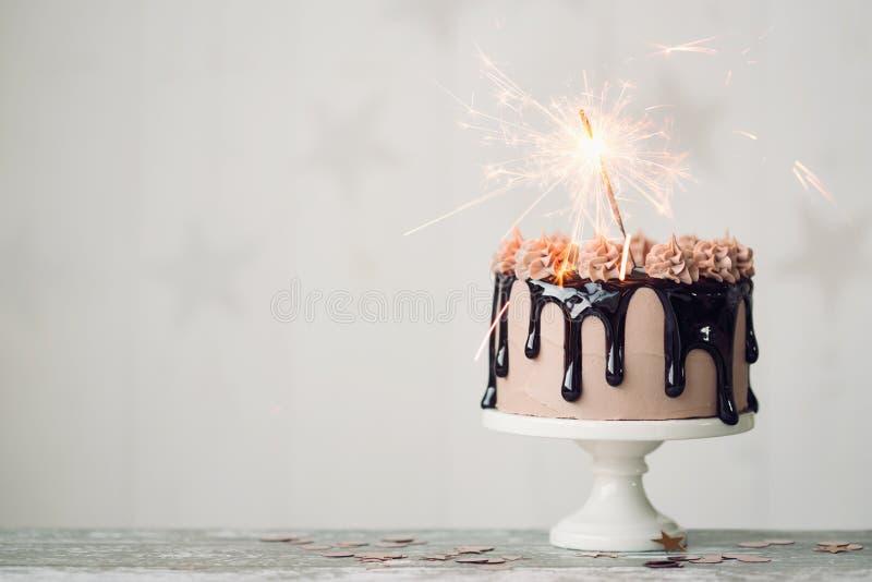Chocolate birthday cake stock photography