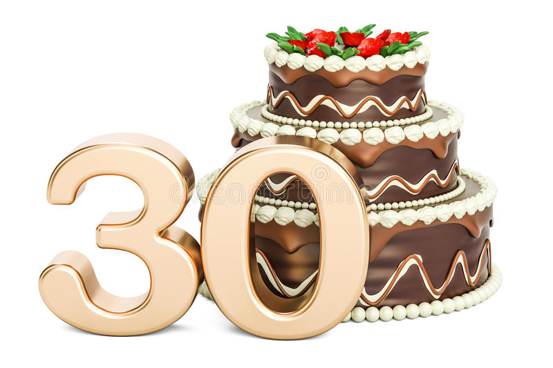 Chocolate Birthday Cake With Golden Number 30 3D Rendering Stock