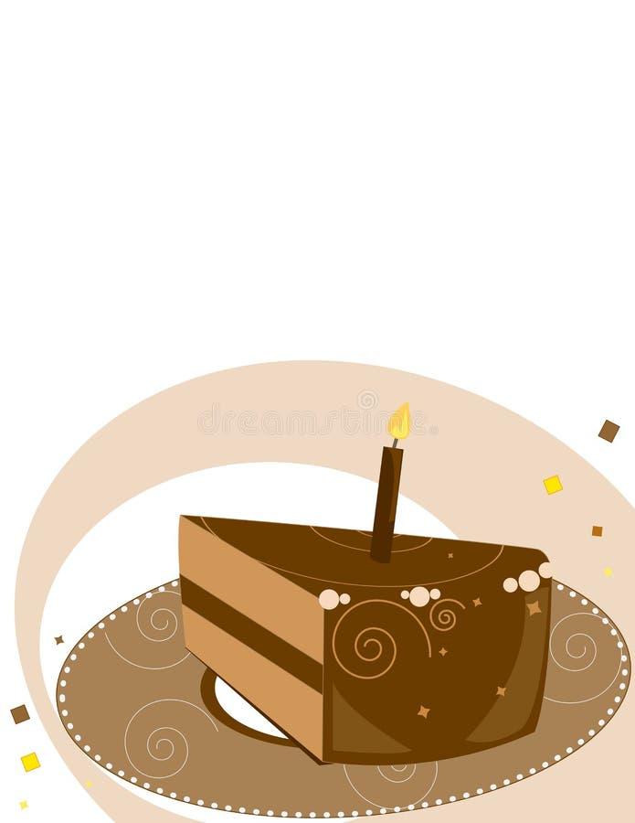 Chocolate Birthday cake slice royalty free illustration