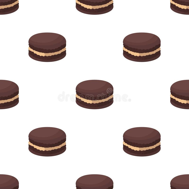 Chocolate biscuit icon in cartoon style isolated on white background. Chocolate desserts symbol stock vector. Chocolate biscuit icon in cartoon design isolated royalty free illustration