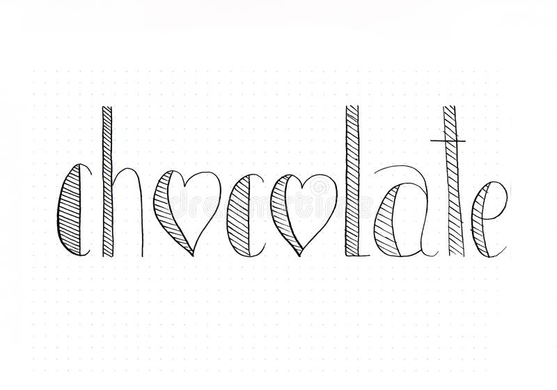 `Chocolate` black hand lettering inscription with hearts and stripes stock illustration