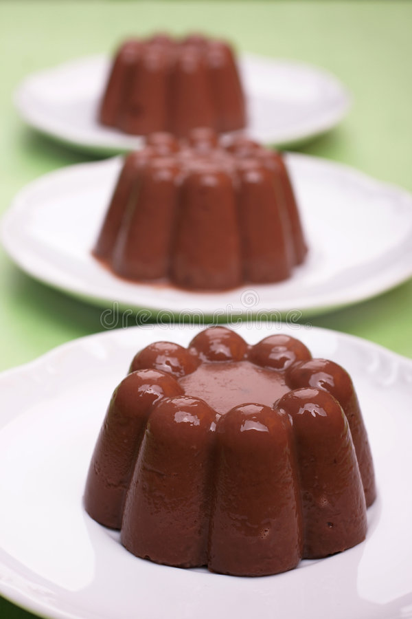 Chocolate blancmange stock photos
