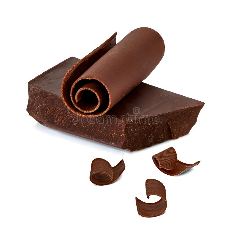 Chocolate block or bar with curls royalty free stock photography