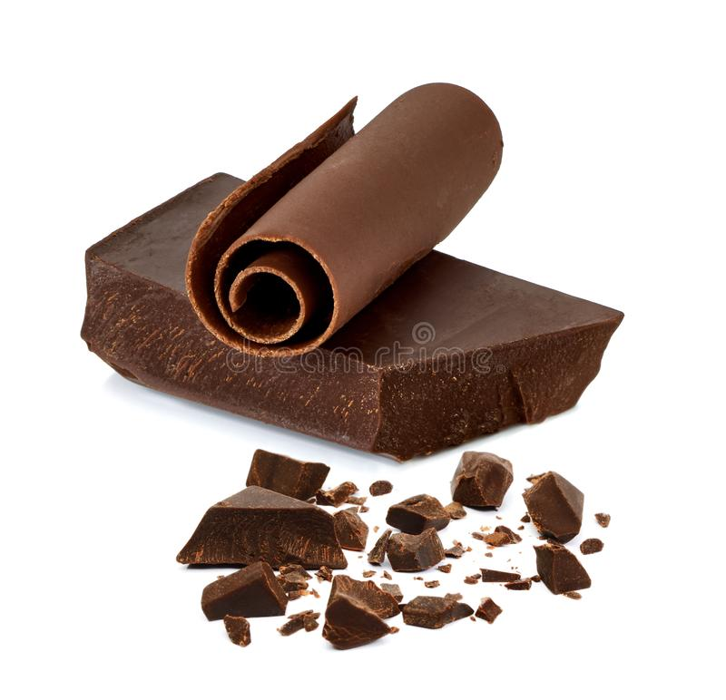 Chocolate block or bar with curls and pieces royalty free stock image