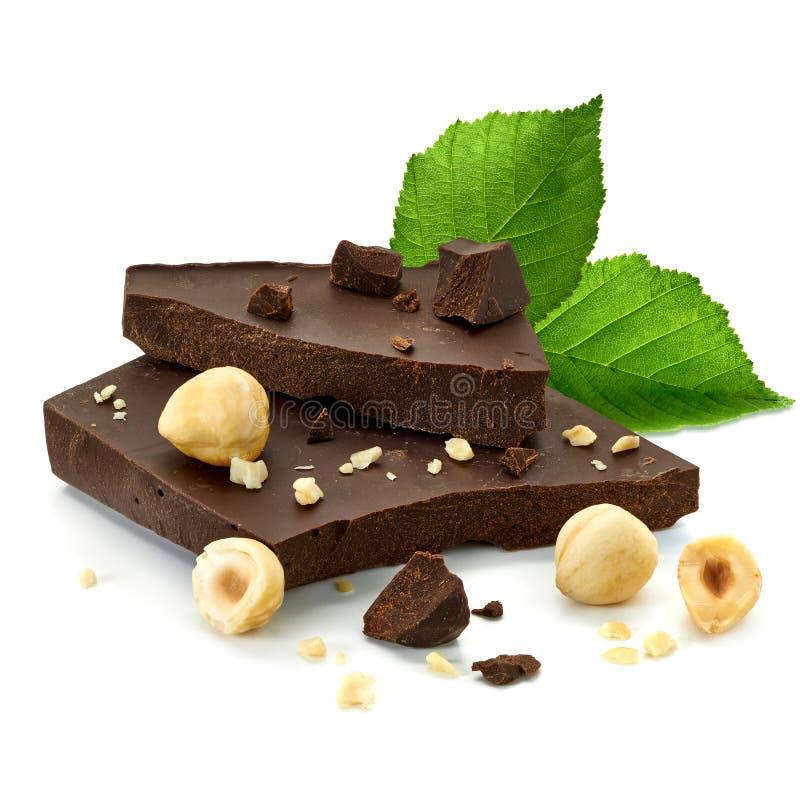 Chocolate blocks with hazelnuts stock photo