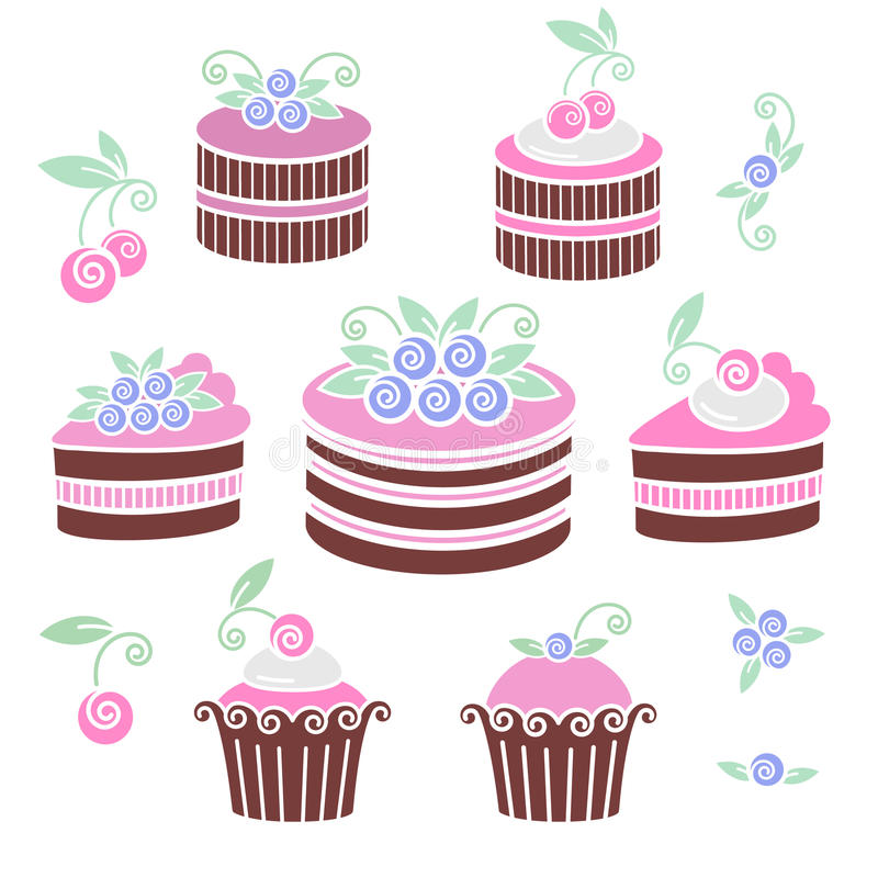 Chocolate blueberries cakes and pies stock illustration
