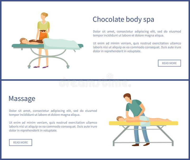 Chocolate Body Spa και μασέρ διαδικασιών μασάζ διανυσματική απεικόνιση