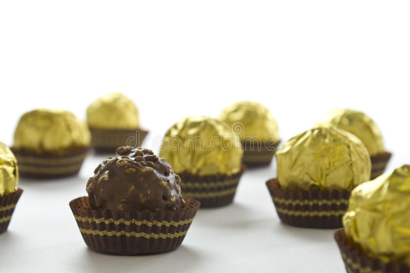 Chocolate Bonbons On A White Background Stock Photo