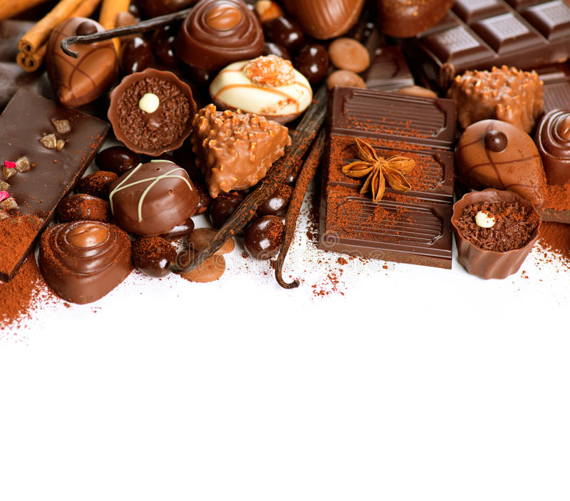 Chocolate border over white royalty free stock images