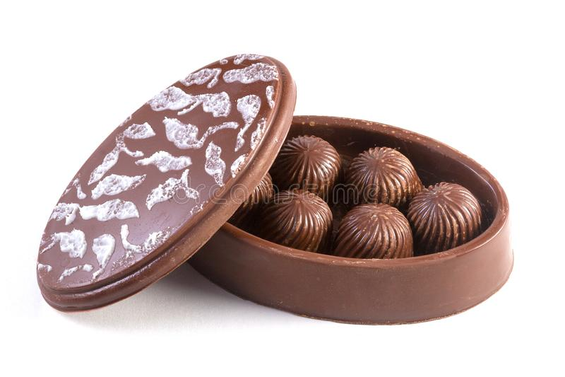 Chocolate box with chocolate bonbons stock photos