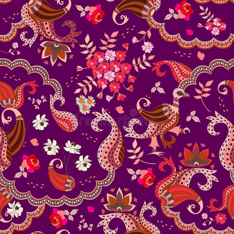 Chocolate box design. Ethnic seamless pattern with paisley, flowers and magic bird in vector isolated on dark purple background.  royalty free illustration