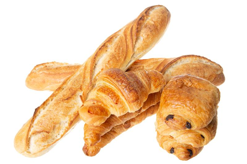 Chocolate bread baguette croissant pastry french bakery in white background. A chocolate bread baguette croissant pastry french bakery in white background stock image