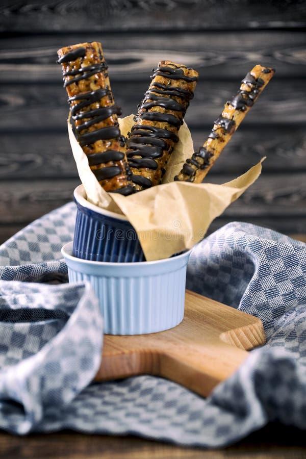 Chocolate bread stick stock photography