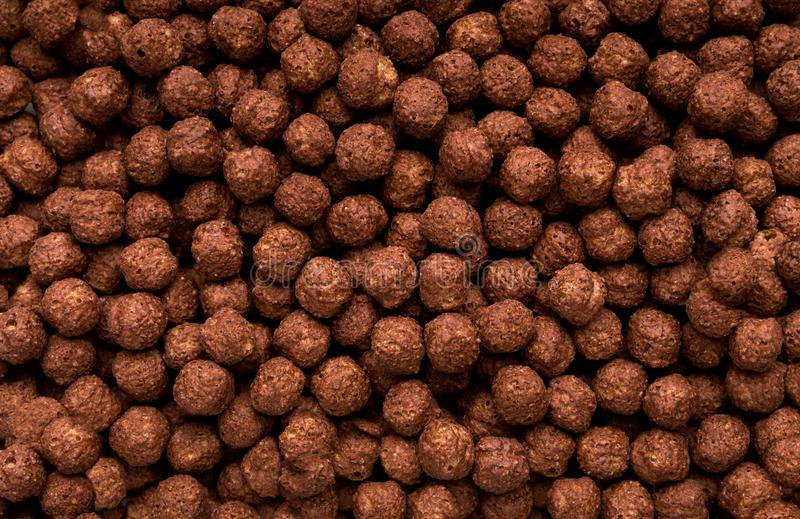 Chocolate breakfast cereal balls background stock images