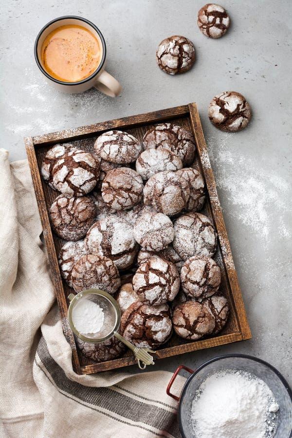 Chocolate brownie cookies in powdered sugar. Chocolate Crinkles. Top view royalty free stock image