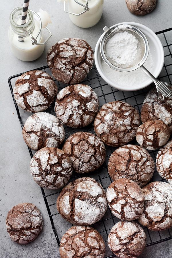 Chocolate brownie cookies in powdered sugar. Chocolate Crinkles. Top view royalty free stock photography