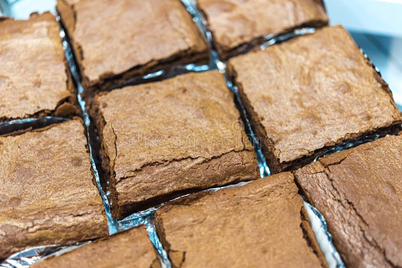 Chocolate brownie (brownie) is dessert a square stock images