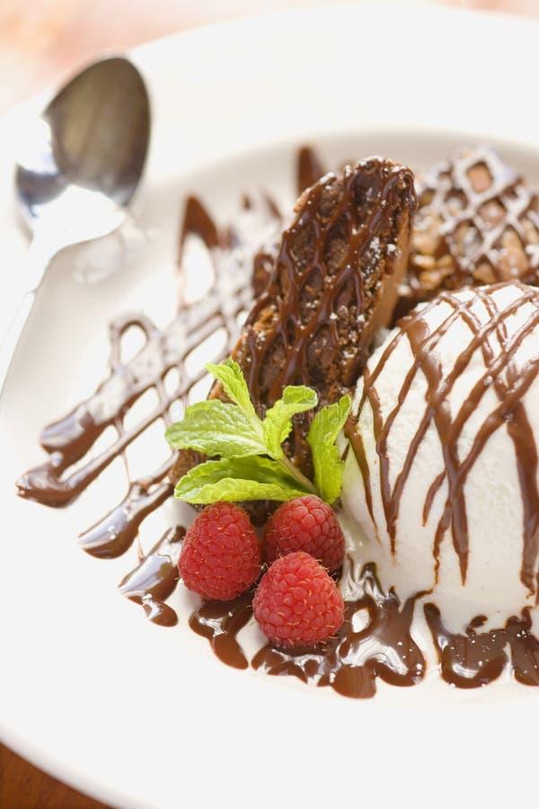 Chocolate brownie with ice cream stock photography