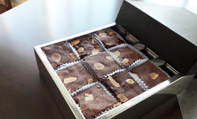 Chocolate brownies in the box. royalty free stock photography