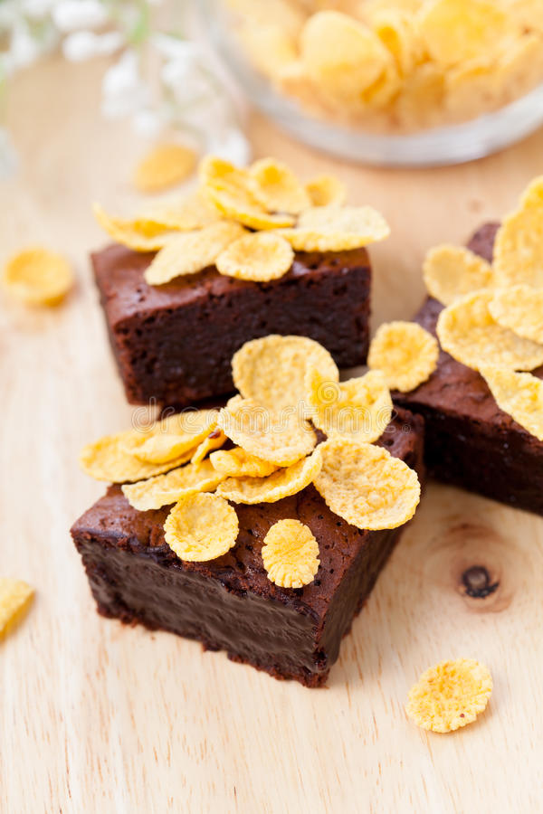 Chocolate brownies with corn flakes royalty free stock photo