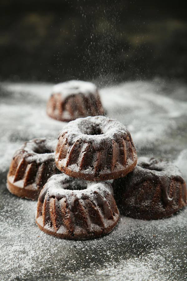 Chocolate bundt cakes. With icing sugar on black background stock photos