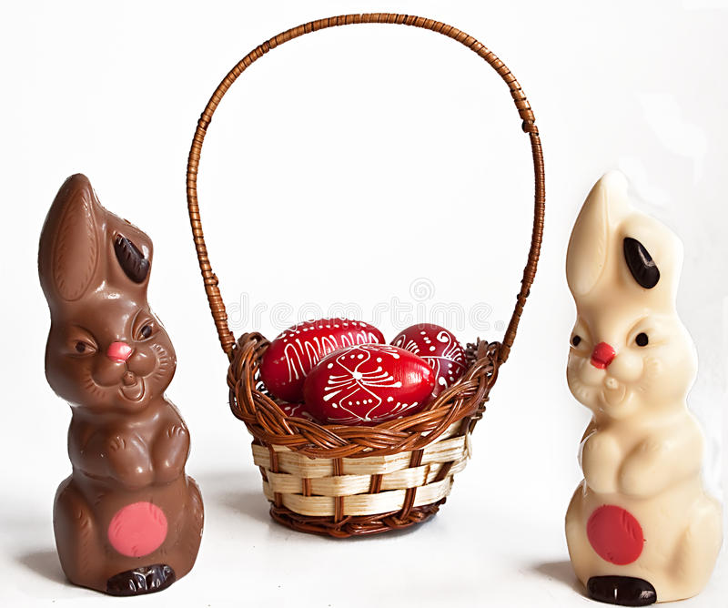 Download Chocolate Bunnies And Egg In Basket Stock Image - Image of white, desert: 13551231