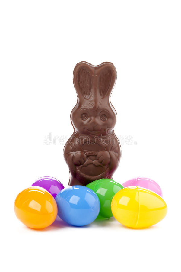 Chocolate bunny and colorful eggs.  stock image