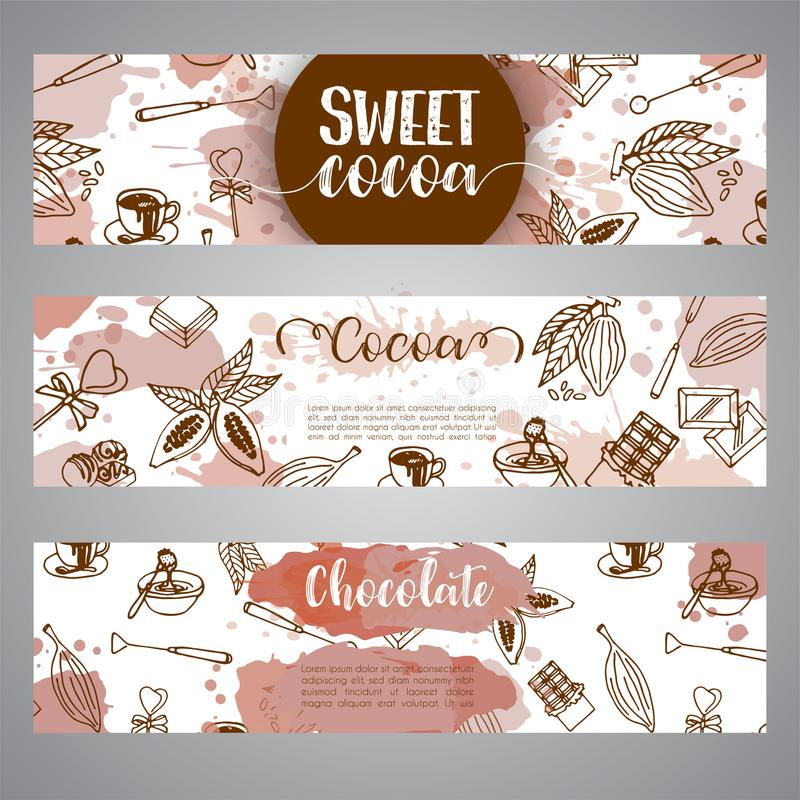 Chocolate cacao sketch banners. Design menu for restaurant, shop, confectionery, culinary, cafe, cafeteria, bar. Cocoa stock illustration