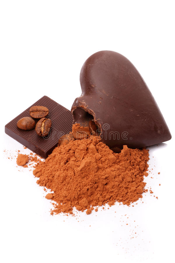 Chocolate, cacau e café fotos de stock
