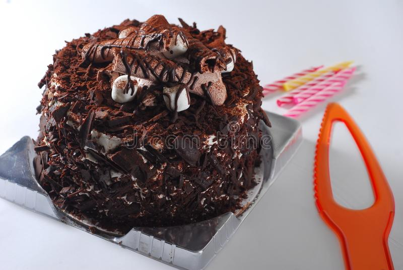 Chocolate cake. Marshmallow chocolate cake black forest royalty free stock photo