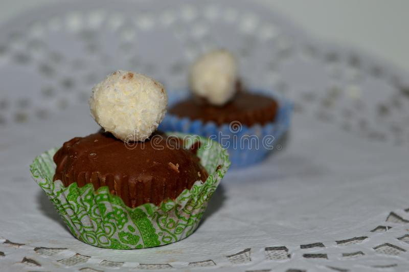 Chocolate cake in a basket. Homemade chocolate cake in a basket stock images