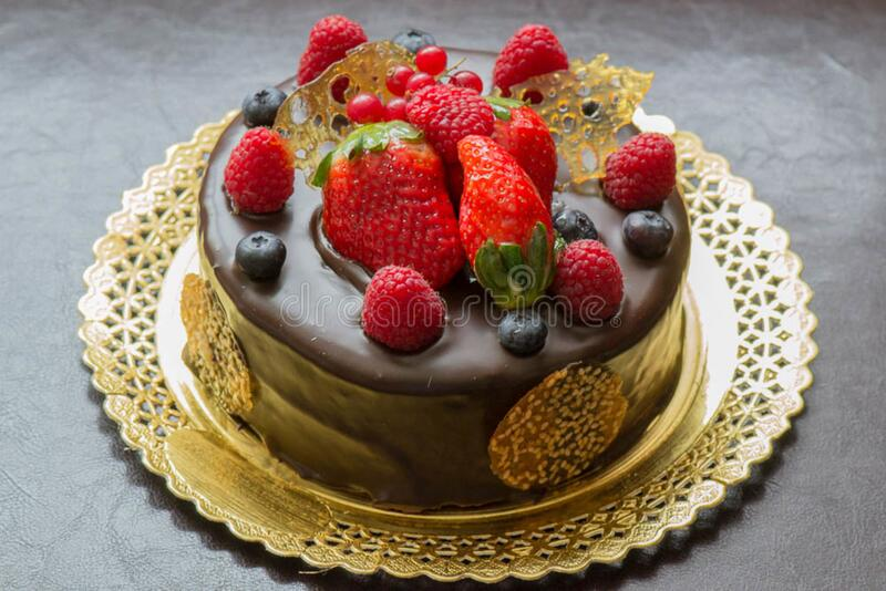 Chocolate cake with berries royalty free stock photo