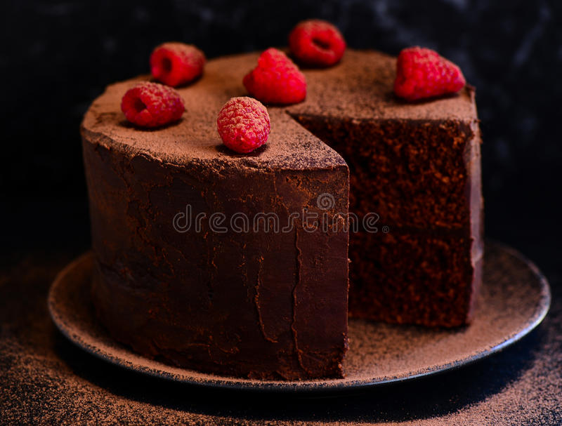 Chocolate cake with berries and ganache stock photography