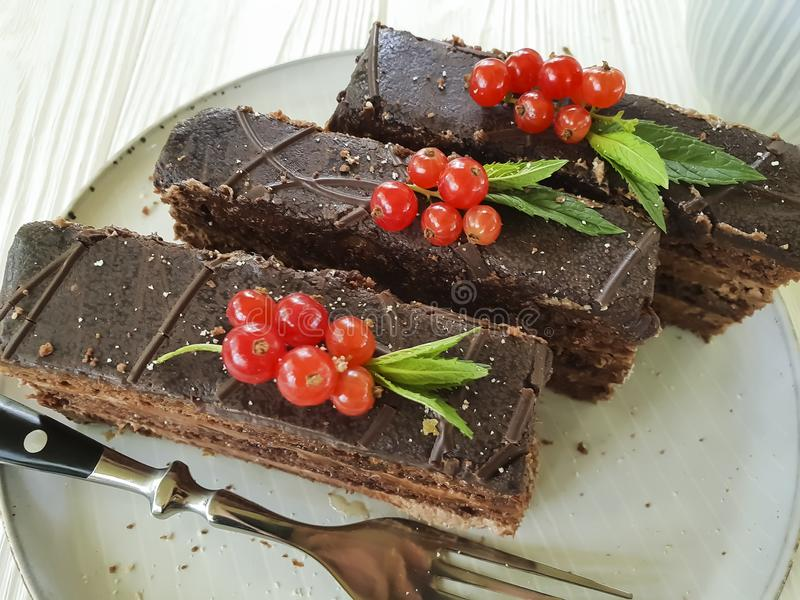Chocolate brown cake, red currant, mint tasty cutting baked dish seasoning pastry plate on white wooden. Chocolate cake brown red currant mint plate dish on royalty free stock image