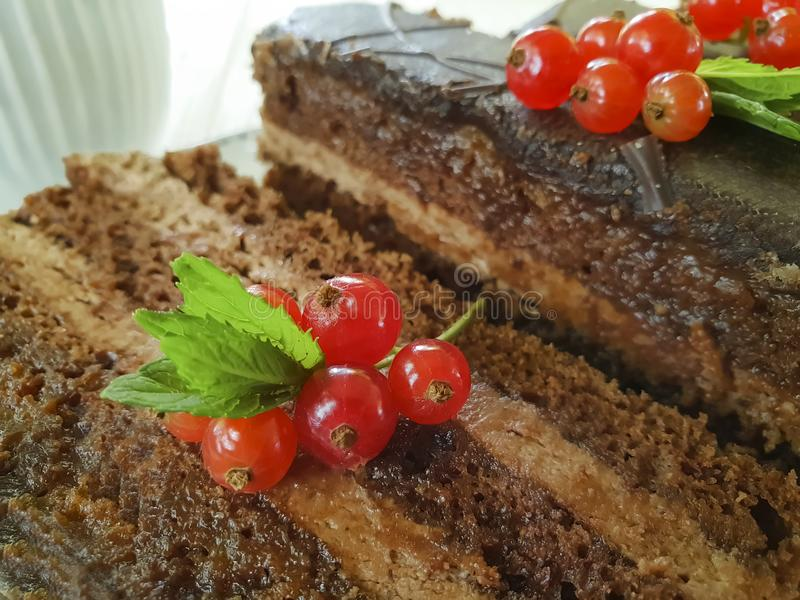 Chocolate brown cake, red currant, mint food tasty lunch cutting baked dish seasoning pastry plate white wooden. Chocolate cake brown red currant mint plate on royalty free stock photo