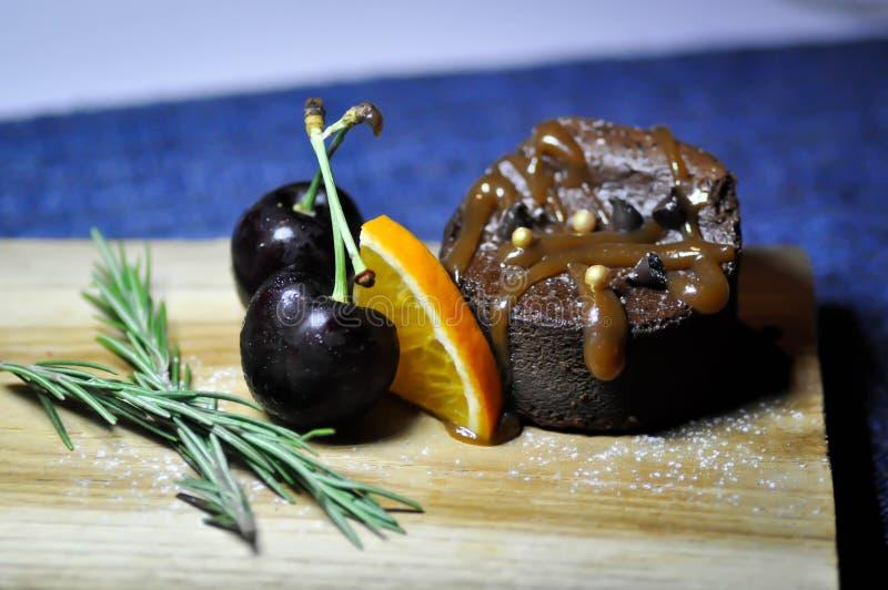 Chocolate cake or brownie stock photo
