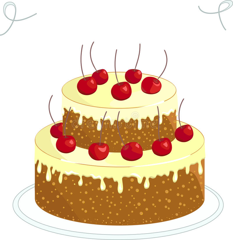 Chocolate cake with cherry stock illustration
