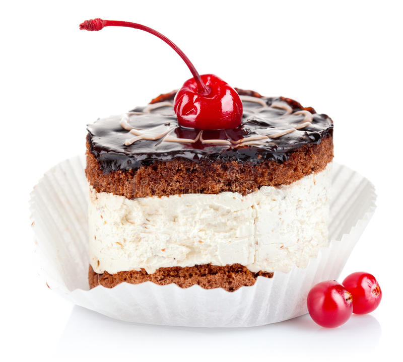 Chocolate cake with cherry royalty free stock image