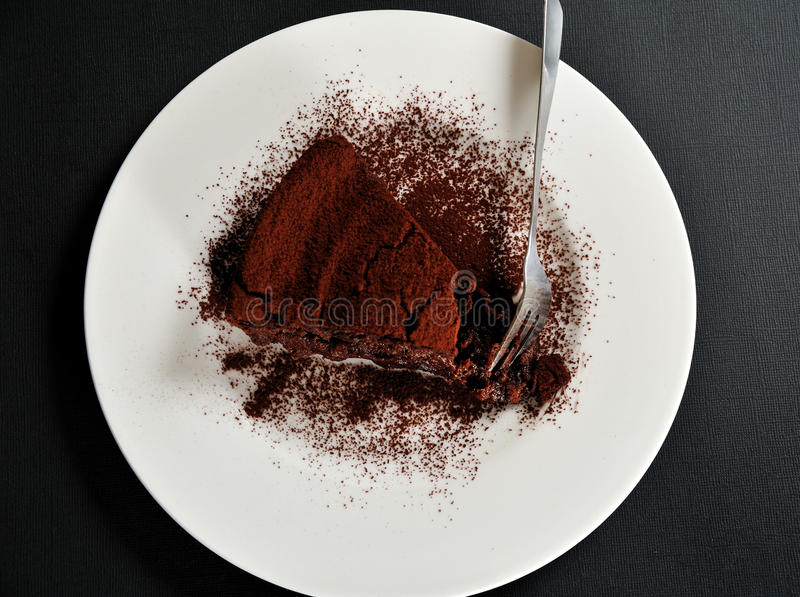 Chocolate cake with chestnut cream and cacao royalty free stock photo