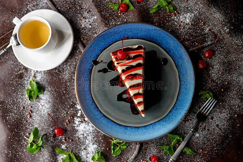 Chocolate cake in powdered sugar stock photography