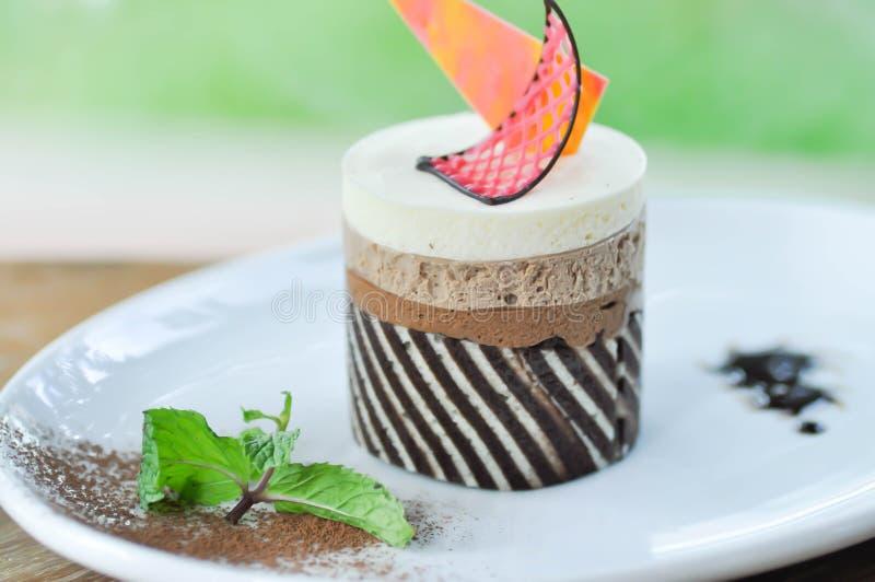 Chocolate cake or chocolate mousse cake stock photo